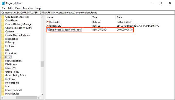 Enable or Disable News and Interests using Registry Editor on Windows 10