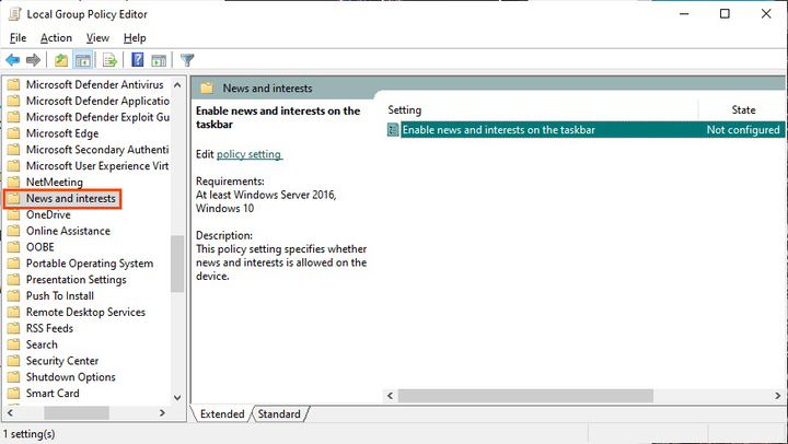 Enable or Disable News and Interests on Taskbar with GPE