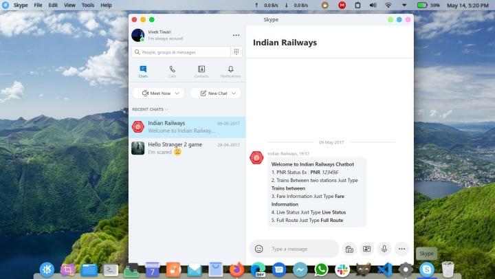 Skype call app Linux